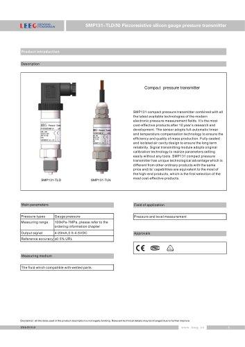 SMP131-TLD(N) Economical pressure transmitter