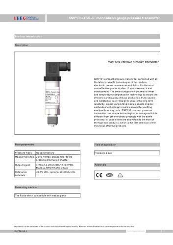 SMP131-TSD-S gauge pressure sensor