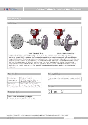 SMP858-DST Diaphragm sealed differential pressure transmitter