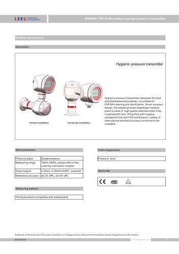 SMP858-TSF-D Condensation proof pressure sensor for dairy/ beverage/ beer