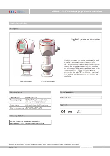 SMP858-TSF-H hygienic pressure sensor