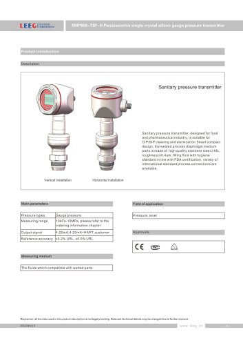 SMP858-TSF-H Stainless steel diaphragm pressure sensor for hygiene area