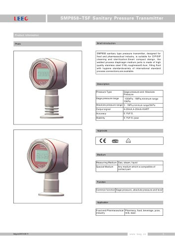 SMP858-TSF High overload pressure transmitter for pharmacy