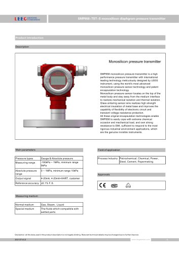 SMP858-TST-S flange pressure transmitter with diaphragm seal