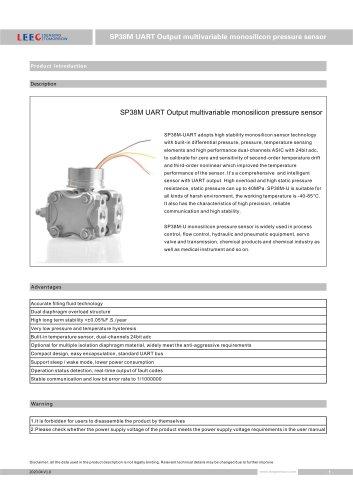 SP38M UART Output Multivariable Presure Sensor