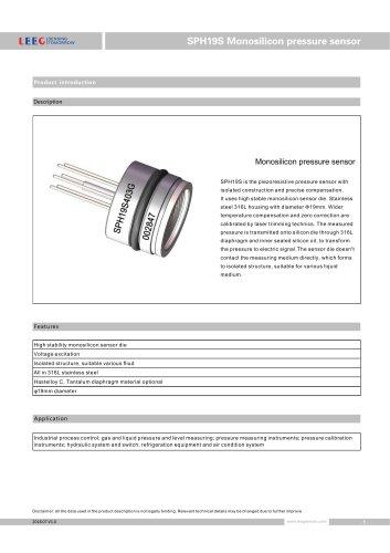 SPH19S Pressure sensor - Shanghai LEEG Instruments