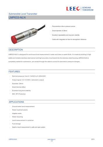 Submersible level sensor LMP633-NLN