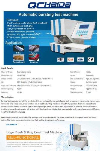 Automatic bursting test machine