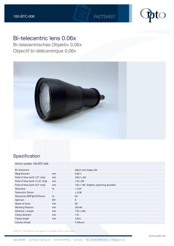 Bi-telecentric Lens 0,06x