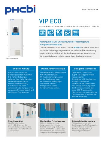 MDF-DU502VH-PE Ultratiefkühlschrank bis –86 °C mit natürlichen Kühlmitteln