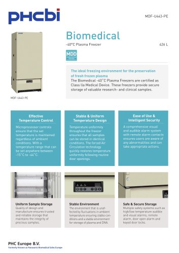MDF-U443-PE -40°C Plasma Freezer