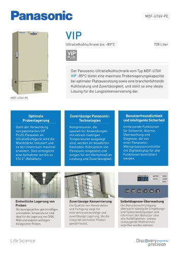 VIP Ultratiefkühlschrank bis –85 °C MDF-U76V-PE