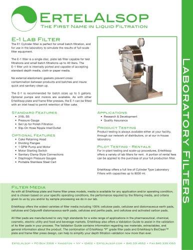 E-1 Lab Filter Tech Sheet