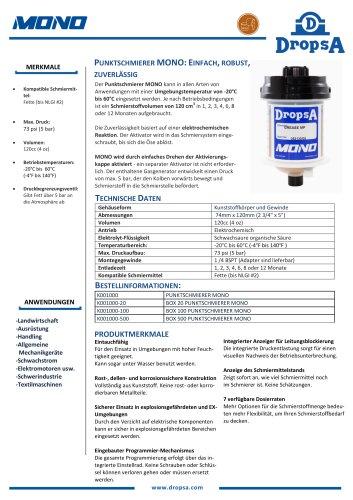 MONO - Automatischer Einpunkt-Schmierstoffgeber