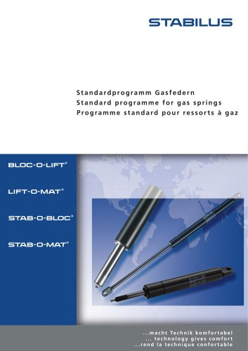 standardprogramm Gasfedern