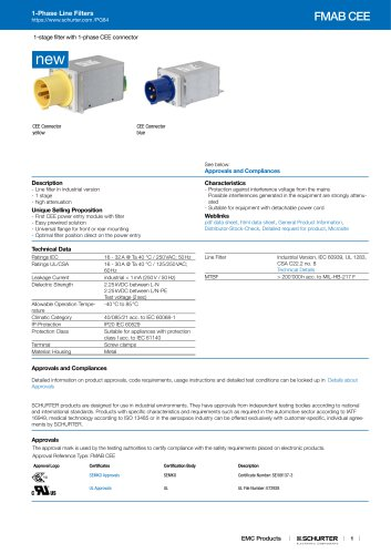1-Phase Line Filters FMAB CEE