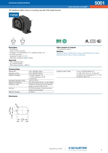 Appliance Outlet for PCB - Series 5001