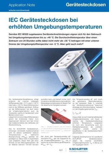 Application Note IEC Gerätesteckdosen bei erhöhten Umgebungstemperaturen