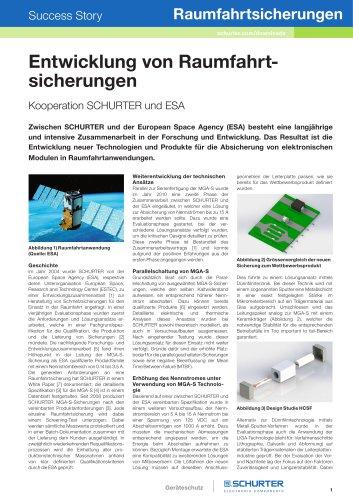 Kooperation SCHURTER und ESA