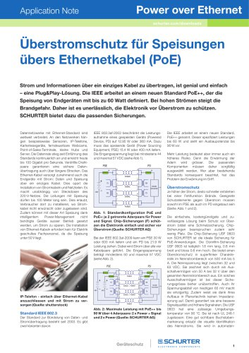 SCHURTER Applicaiton Note: Power over Ethernet