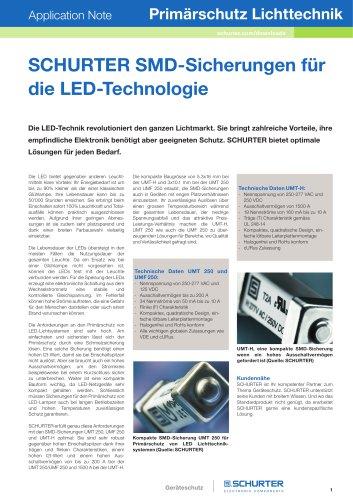 SCHURTER Application Note: Primärschutz Lichttechnik