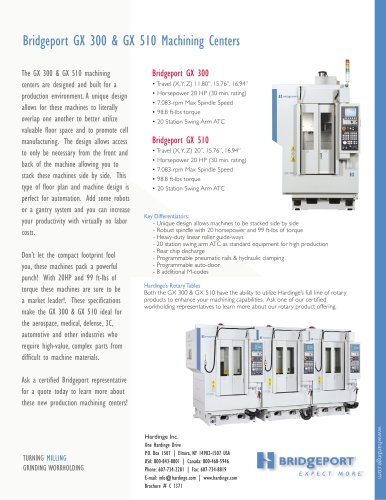 Bridgeport GX 300 & GX 510 Machining Centers