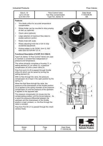 FJC - Flow Control Valve Two-Way Compensated