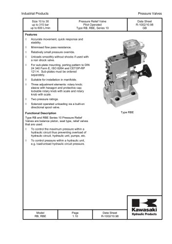 RB and RBE - Pressure Relief Valve Pilot Operated