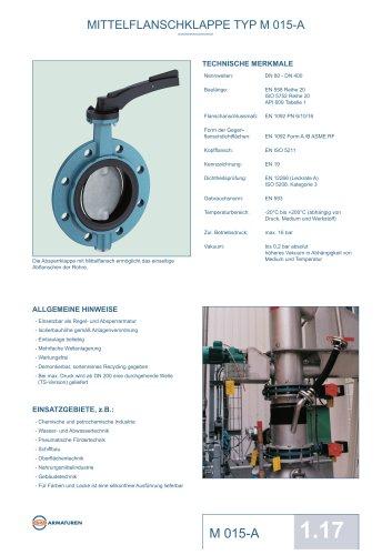 Datenblatt M 015-A Absperrklappe EBRO