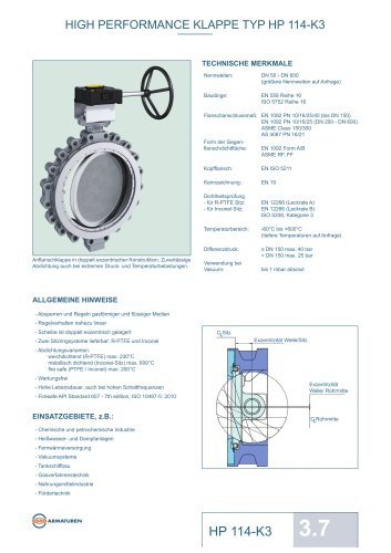 HIGH PERFORMANCE KLAPPE TYP HP 114-K3