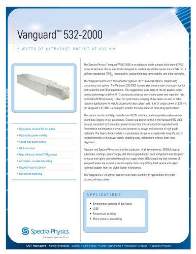 2 Watts Of Ultrafast Output At 532 Nm- Vanguard™ 532-2000