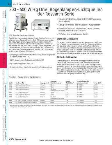 200 - 500 W Hg Oriel Bogenlampen-Lichtquellen der Research-Serie