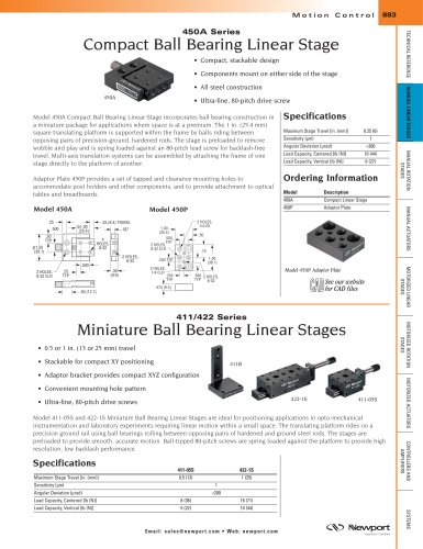 411/422 Series Miniature Ball Bearing Linear Stages