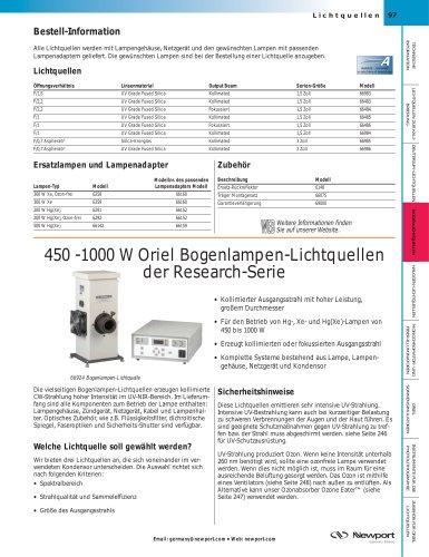 450 -1000 W Oriel Bogenlampen-Lichtquellen der Research-Serie