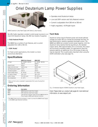 Deuterium Lamp Power Supplies