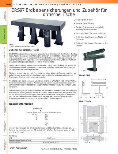 ERS97 Erdbebensicherungen und Zubehör für optische Tische, Platzsparendes Zubehör