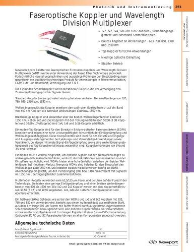 Faseroptische Koppler und Wavelength  Division Multiplexer