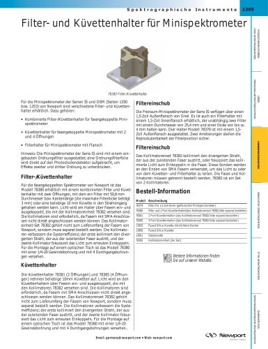 Filter- und Küvettenhalter für Minispektrometer