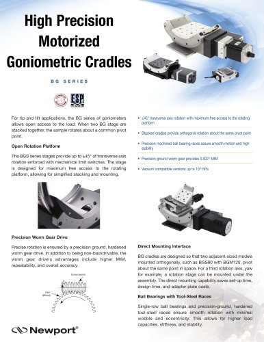 High Precision Motorized Goniometric Cradles B G S e r i e S