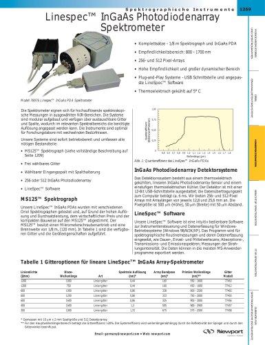 Linespec™ InGaAs Photodiodenarray  Spektrometer