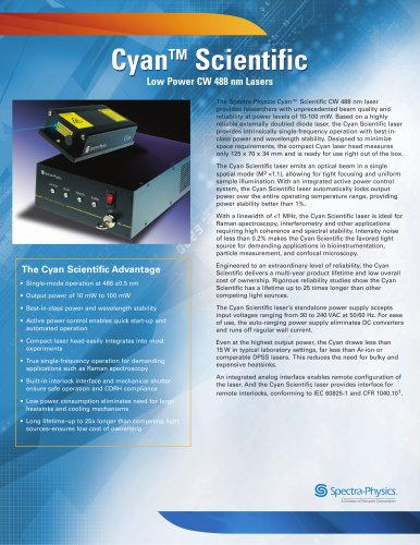 Low Power CW 488 nm Lasers- Cyan™ Scientific