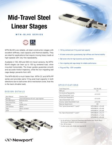 Mid-Travel Steel Linear Stages M T N - B L H S S e r i e S