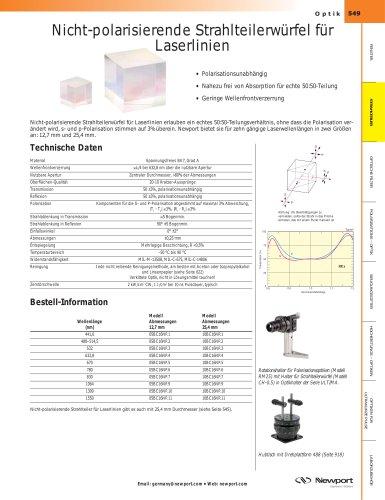 Nicht-polarisierende Strahlteilerwürfel für Laserlinien