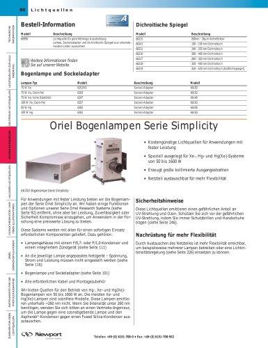Oriel Bogenlampen Serie Simplicity