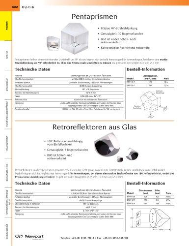 Pentaprismen, Retroreflektoren aus Glas