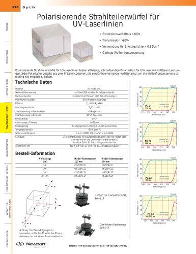 Polarisierende Strahlteilerwürfel für  UV-Laserlinien