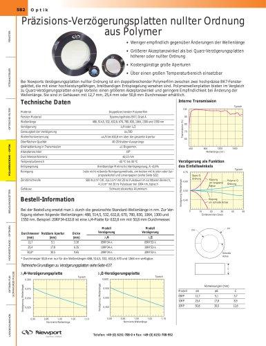 Präzisions-Verzögerungsplatten nullter Ordnung aus Polymer