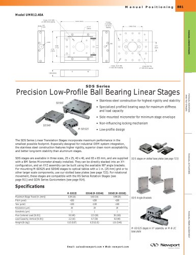 SDS Series Precision Low-Profile Ball Bearing Linear Stages
