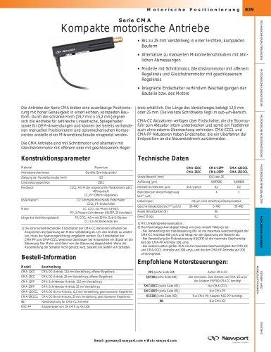 Serie CMA Kompakte motorische Antriebe