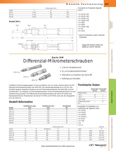 Serie DM Differenzial-Mikrometerschrauben